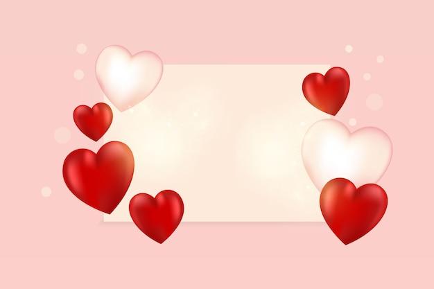 Plano de fundo dia dos namorados com corações e copyspace.