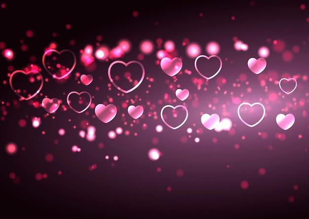 Plano de fundo dia dos namorados com corações e desenho de luzes bokeh