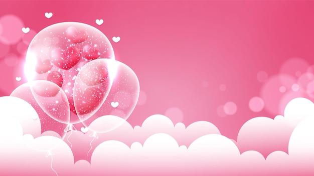 Plano de fundo dia dos namorados com corações e nuvens