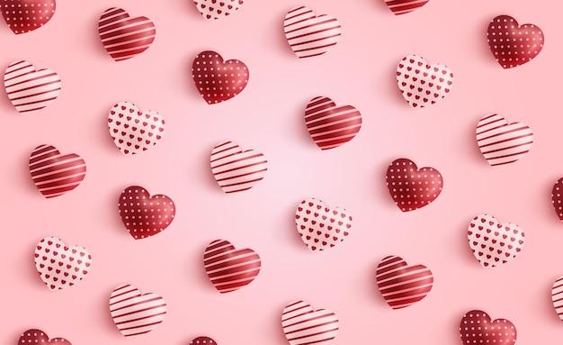 Plano de fundo dia dos namorados com padrão de coração