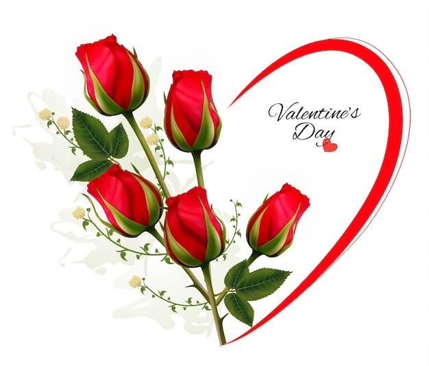Plano de fundo dia dos namorados com um buquê de rosas vermelhas. vetor.