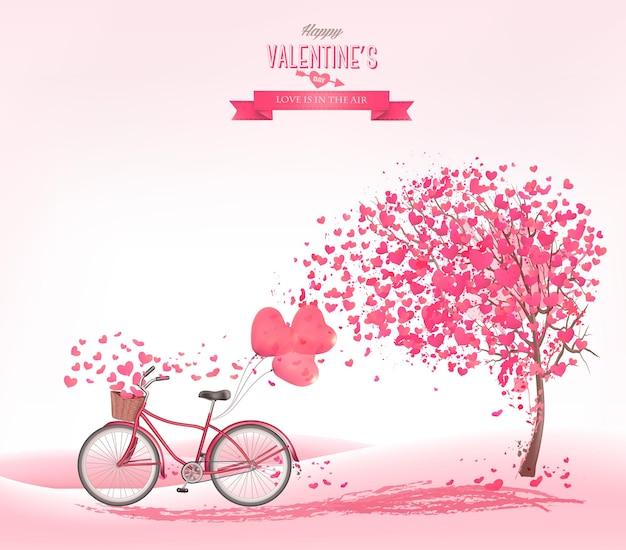 Plano de fundo dia dos namorados com uma árvore em forma de coração e uma bicicleta.