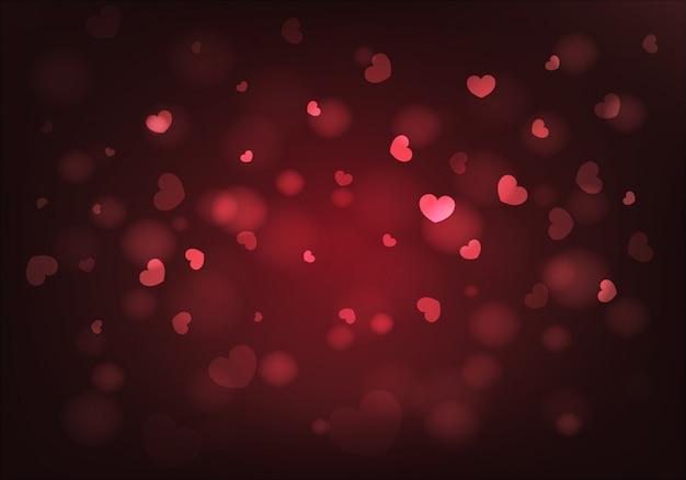 Plano de fundo dia dos namorados. corações vermelhos e bokeh. vetor.