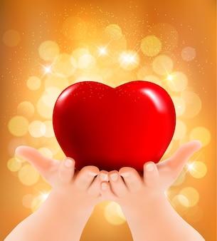 Plano de fundo dia dos namorados. mãos segurando um coração vermelho. ilustração vetorial