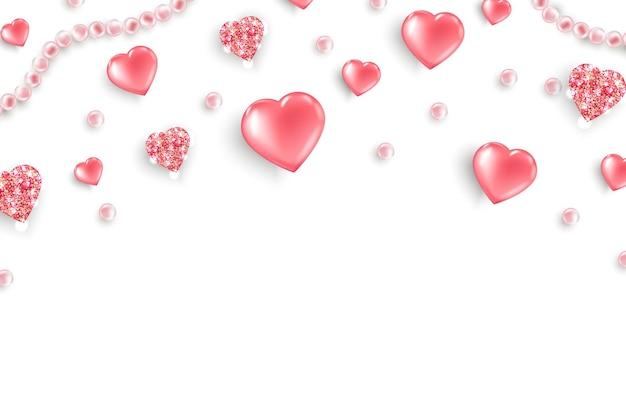 Plano de fundo dia dos namorados vista superior na composição com corações rosa brilhantes pérolas rosa