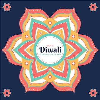 Plano de fundo diwali de design plano com mandala e flores