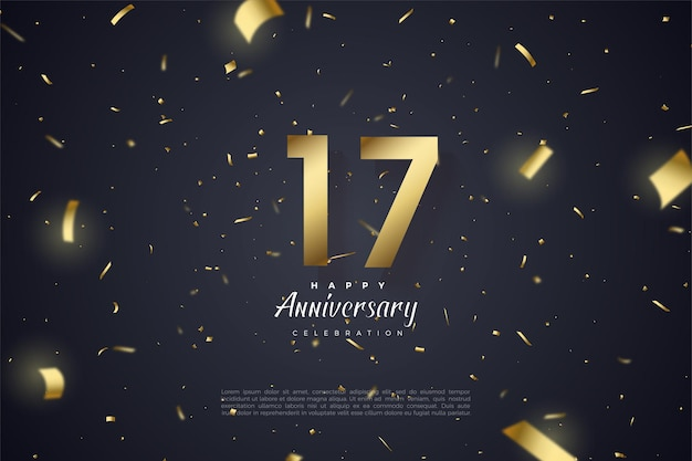 Plano de fundo do 17º aniversário com ilustração de números e papel dourado caindo no espaço