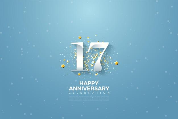 Plano de fundo do 17º aniversário com ilustração de suaves números brancos e estrelas douradas