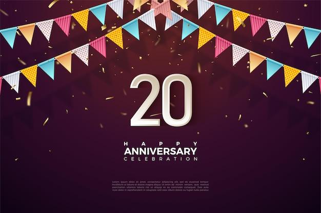 Plano de fundo do 20º ano com números 3d e bandeira de aniversário