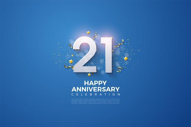 Plano de fundo do 21º aniversário com números personalizados, materiais de festa, plano de fundo azul.