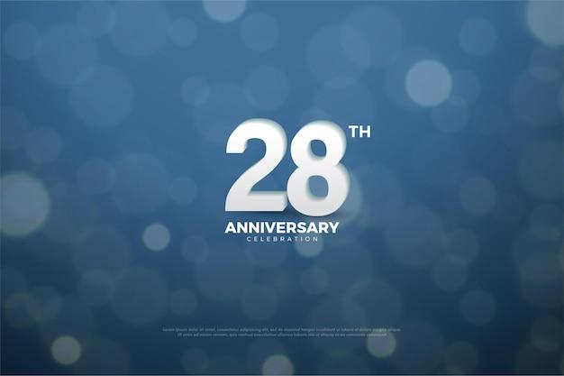 Plano de fundo do 28º aniversário com abrangentes números de luz e sombras