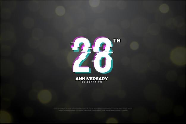 Plano de fundo do 28º aniversário com efeito de corte em paz