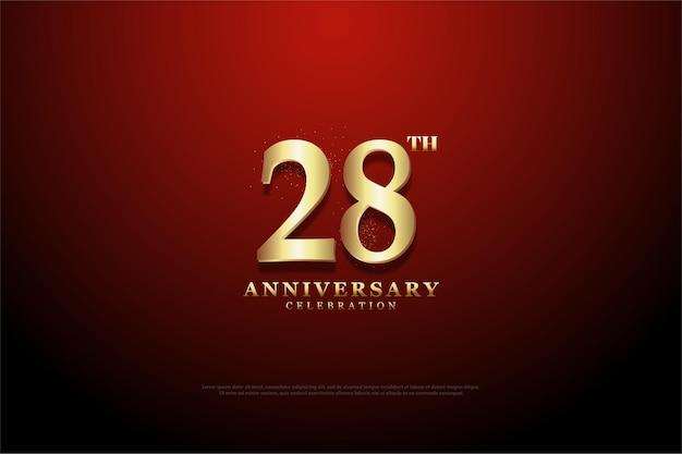 Plano de fundo do 28º aniversário com fundo de vinheta