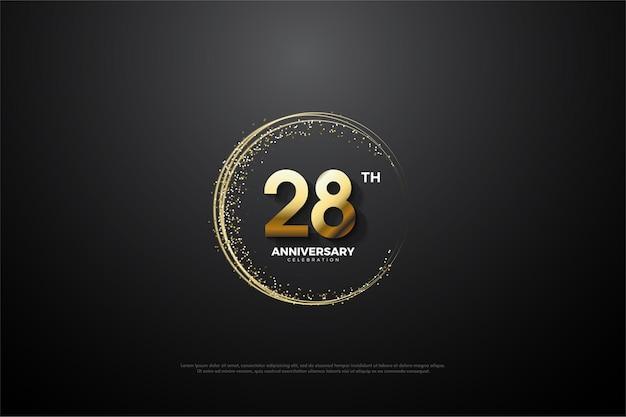 Plano de fundo do 28º aniversário com números e areia dourada circundando os números