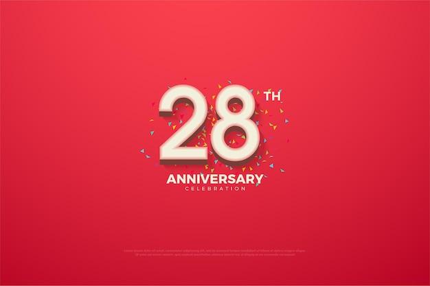 Plano de fundo do 28º aniversário com números e rabiscos coloridos