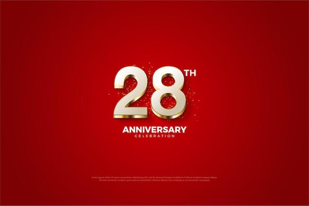 Plano de fundo do 28º aniversário com números luxuosos folheados a ouro