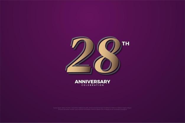 Plano de fundo do 28º aniversário com números marrons em fundo roxo
