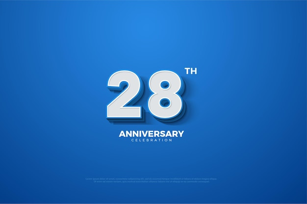 Plano de fundo do 28º aniversário com números tridimensionais que surgem