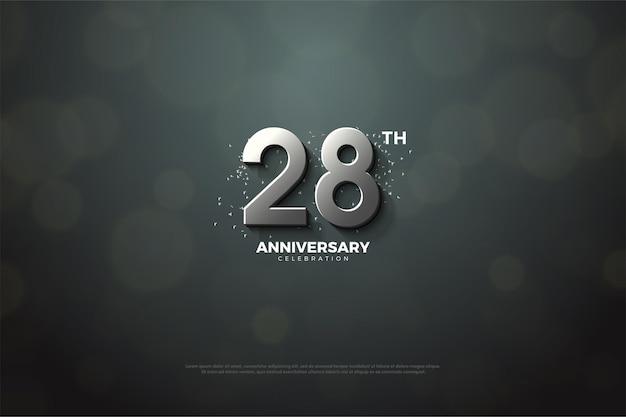 Plano de fundo do 28º aniversário com uma sombra no meio dos números