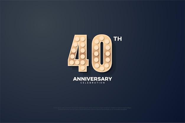Plano de fundo do 40º aniversário com algarismos 3d com uma textura leve.