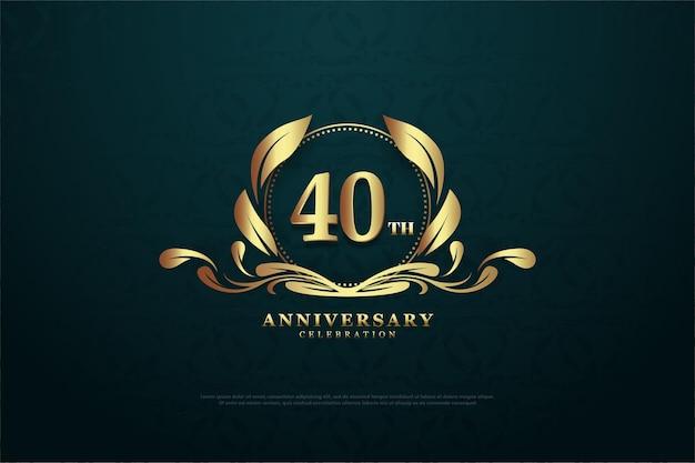 Plano de fundo do 40º aniversário com números e símbolos de ouro claro.