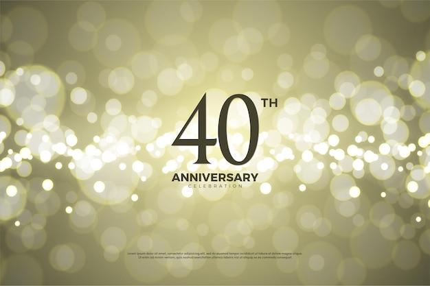Plano de fundo do 40º aniversário com números e usando fundo de papel dourado.
