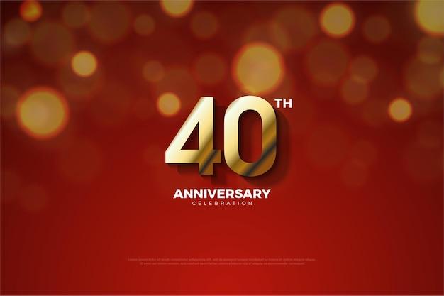 Plano de fundo do 40º aniversário com números parcialmente cortados pela sombra.