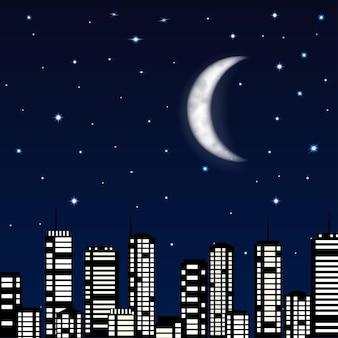 Plano de fundo do céu noturno com lua, estrelas e a silhueta da cidade