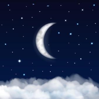 Plano de fundo do céu noturno com lua, estrelas e nuvens