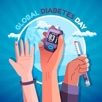 Plano de fundo do dia da diabetes no mundo plano