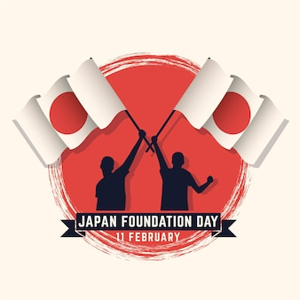 Plano de fundo do dia da fundação de design plano (japão) com pessoas segurando bandeiras