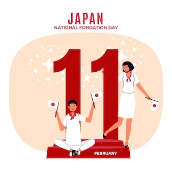 Plano de fundo do dia da fundação de design plano (japão) com pessoas