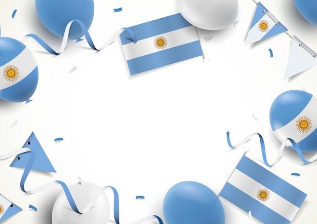Plano de fundo do dia da independência da argentina com bandeiras de balões