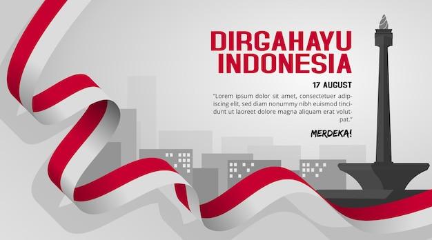Plano de fundo do dia da independência da indonésia com vista da cidade de jacarta e monas