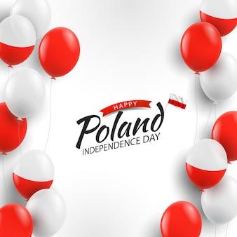 Plano de fundo do dia da independência da polônia com balões