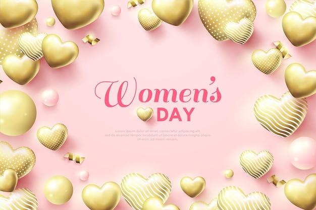Plano de fundo do dia da mulher rodeado por balões de amor de ouro 3d.