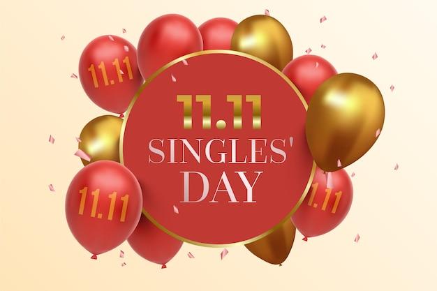 Plano de fundo do dia de solteiros com balões realistas