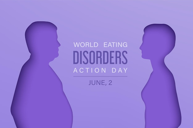 Plano de fundo do dia de transtornos alimentares com silhuetas em camadas de papel de homens e mulheres magros e gordos