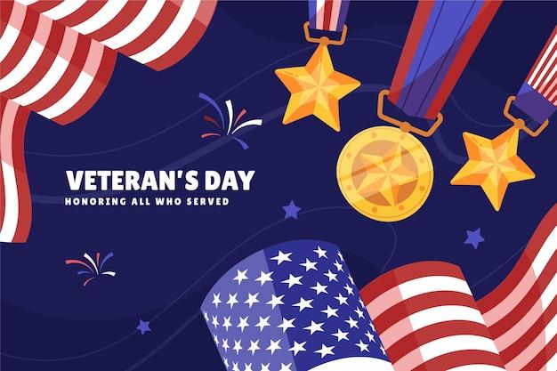 Plano de fundo do dia do veterano desenhado à mão