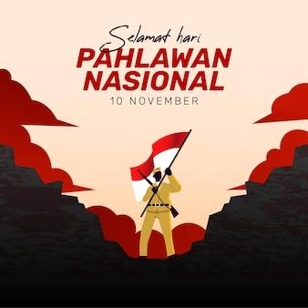 Plano de fundo do dia dos heróis de pahlawan com o homem e a bandeira