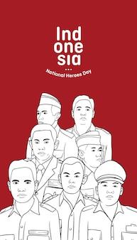 Plano de fundo do dia dos heróis indonésios com ilustração do retrato dos heróis da revolução