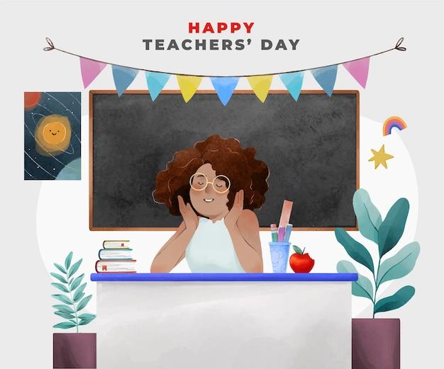 Plano de fundo do dia dos professores em aquarela