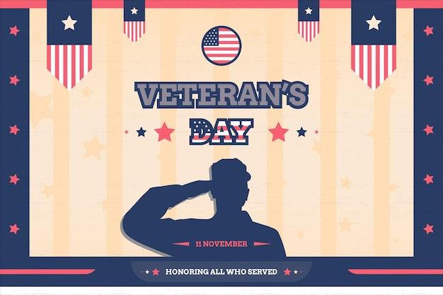 Plano de fundo do dia dos veteranos com bandeira e desenho vetorial de estilo vintage