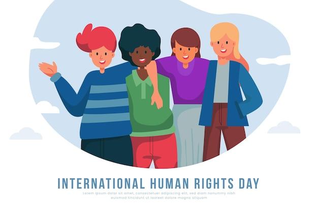 Plano de fundo do dia internacional dos direitos humanos de design plano