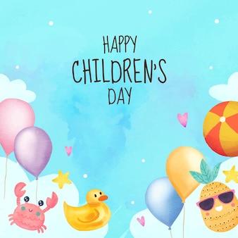 Plano de fundo do dia mundial da criança em aquarela