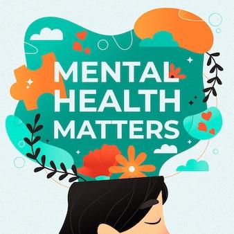 Plano de fundo do dia mundial de saúde mental de design plano