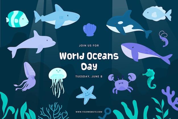 Plano de fundo do dia mundial dos oceanos