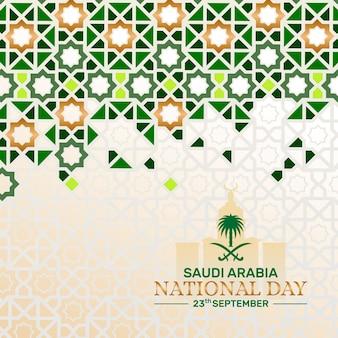 Plano de fundo do dia nacional da arábia saudita com padrão islâmico e ilustração de marco