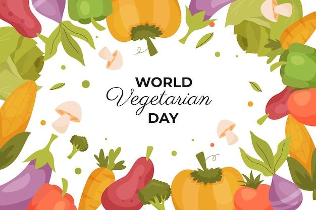 Plano de fundo do dia vegetariano em mundo plano