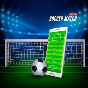 Plano de fundo do estádio de futebol e smartphone com campo de futebol na tela e bola.